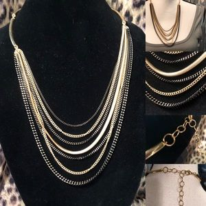Gold & Black Toned Multi-Chain Swooping Necklace